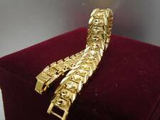 Elegant 14ct 9ct Yellow Gold Daimond cut Band Soild womens mens bracelet 18.5cm