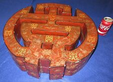 """Chinese Reticulated Marriage Box Red Lacquer 20"""" Dia Unusual Design Antique"""