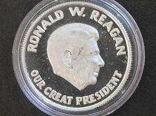 Ronald W. Reagan 40th President of the U.S.A. .999 Silver Art Round D6425