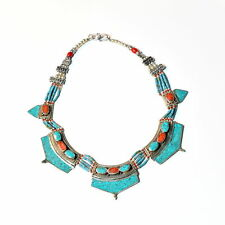 Nepal Vintage Jewelry 925 Tibetan Silver Plated Turquoise Coral Necklace RC1429