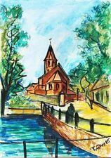 Aquarell Malsch Studie Rudi Nowak signiert datiert 1985 42 x 29,5 cm Landschaft