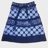 Monsoon Navy Blue Linen Cotton Blend Embroidered Printed Belted Skirt 10 - B74