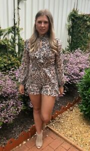 Bardot Floral Highnecked Playsuit. Size 8, Excellent Condition.