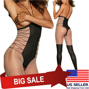 Women's Black/Beige Lingerie Sleepwear Cupless Faux Thigh High Bodystocking OS