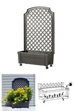 Calypso 31 in. x 13 in. Anthracite Plastic Planter with Trellis and Water Reserv