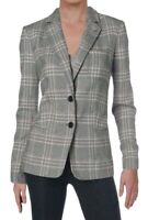 Tommy Hilfiger Women's Blazer Gray Size 16 Plaid Notch Collar 2 Button $139 #364
