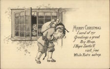 Christmas Kids Watch Santa Claus Thru Window - Black & White c1910 Postcard
