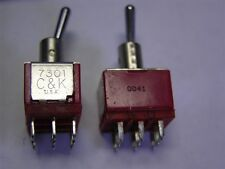 5 C&K 7301SYCSE 3PDT Thru-Hole 7000 Series Miniature Toggle Switches
