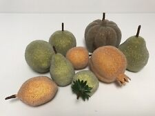 Vintage Faux Frosted Fruit 9pc Sugared Gourds Pears Lemons Christmas Decor Craft