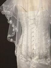 Schleier Brautschleier Perlen weiß ivory Braut Hochzeit zum Brautkleid BlütenJGA