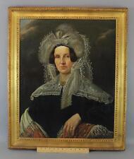 Antique 18thC Portrait Oil Painting Woman w/ Feather Lace Bonnet & Paisley Shawl