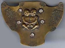 ANTIQUE 1920'S BRASS & RHINESTONE MISCHIEVOUS COMRADE BABIES SASH PIN BROOCH*