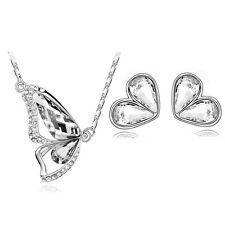 Diamante Bridal Kristall Weiß Schmetterling Schmuckset Ohrringe & Halskette S391
