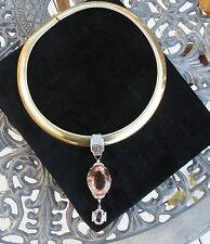 Flawless 65.9 carat Morganite platinum Diamond Pendant  +14k gold Omega Necklace