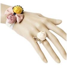 Bracelet femme + bague velours Blanc noeud satin vieux rose jaune crème mariage