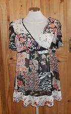 NEW LOOK black ivory pink coral green floral chiffon MATERNITY tunic top 12 40