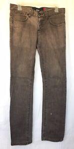 Krew Kslims Men's KR3W Button-fly Stretch Denim Jeans Sz 30 k45598 Brown W/Flaw