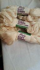 Lily Soft Sheen cream color #3 craft yarn 100% virgin viscose blend 3 4oz skeins