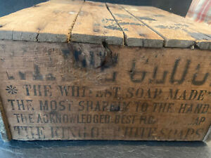 """ANTIQUE """"WHITE CLOUD"""" SOAP BOX """"MOST SHAPELY TO HANDS"""" SCARCE WOOD BOX"""