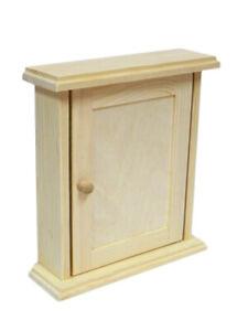 Wall Key Cabinet - Wooden Plain Colour Cupboard Rack Holder Easy Assemble /K01
