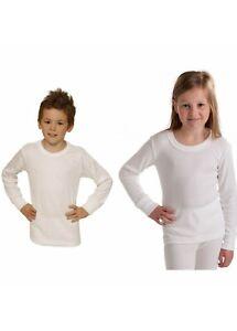 T-shirt manche longe thermique molletonné enfant mixte 100% Coton Blanc