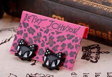 E146 BETSEY JOHNSON Lucky Smiling Kitten Kitty Tabby Black Cat Earrings US