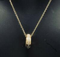 14K Yellow Gold 0.25ctw G-SI1 Round Cut Natural Diamond Circle Pendant Necklace