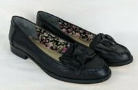 Seychelles Women's Shoes Size 8 Leather Black Loafers Slip-On Moccasin Stud-Bow