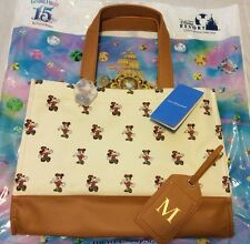 "Exclusive Tokyo Disneyland Hotel Tote Bag Mickey Disney With ""M"" Tag"