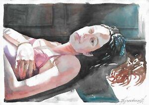 original painting A3 89KrV art samovar modern watercolor female half naked