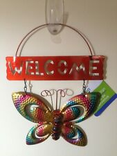 New Garden Collection Shimmery Metal Butterfly Hanging Welcome Sign