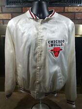 Vintage Chicago Bulls NBA Basketball Satin Snap Jacket Mens Large Jordan White