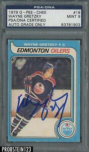 Wayne Gretzky Signed 1979 O-Pee-Chee OPC Hockey #18 RC Rookie PSA PSA/DNA 9 AUTO
