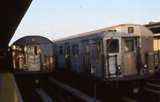 Nycta Kodak slide. Pair of out-of-service R32 subway trains at 111th Street