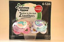 Tommee Tippee Esencial Fundamentos brillan en la oscuridad Chupetes 6-12m para niñas