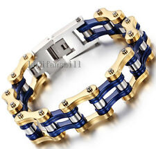 16mm Men's Chain Gold Blue Motorcycle Biker Link Stainless Steel Bracelets 8.66""