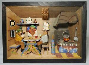 Vintage Italian Folk Art Shadow Box Kitchen Scene Diorama Hand Carved