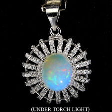 Sterling Silver 925 Genuine Natural Opal and White Topaz Pendant