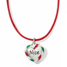 NWT Brighton NAUGHTY & NICE Heart Red Green Christmas Leather Necklace MSRP $38