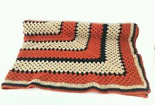 "Handmade Crochet Blanket Winter Sofa Throw Orange  Navy Cream 58.5"" x 64.5"""