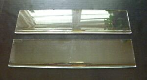 "2 VINTAGE REPLACEMENT GLASS SHELF CLEAR ROLLED EDG  CABINET, BATH, 16 3/8"" X 4"""