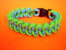 550 ParaCord Shark Jaw Bone ( Piranha ) Braided Bracelet Neon Green & Light Blue
