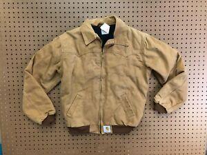 YOUTH XL - Vtg Carhartt JQ2006 Duck Flannel Quilt Lined Santa Fe Jacket Made USA