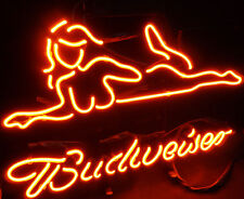 Bud wiser Sexy Girl Real Glass Display Handmade Wall Boutique Store Neon Sign