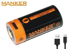 New Manker 18350 (1100mAh) 3.7V USB Protected Button Top Rechargeable Battery