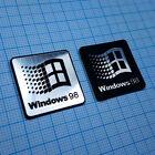 TWO 2 x Windows 98 Sticker Metallic Aluminium Logo Badge