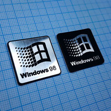 TWO (2) x Windows 98 Sticker Metallic Aluminium Logo Badge
