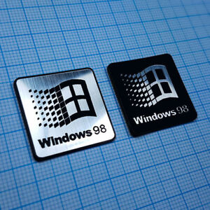 TWO (2) x Windows 98 Sticker Metallic Aluminium Logo Badge