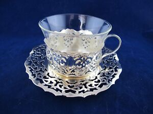 Mainz Schott Jenaer Glas CUPS and SAUCERS Set 6 Glass Inserts & Silver Metal