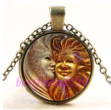 Vintage Sun & Moon Face Photo Cabochon Glass Bronze Chain Pendant Necklace#CA42